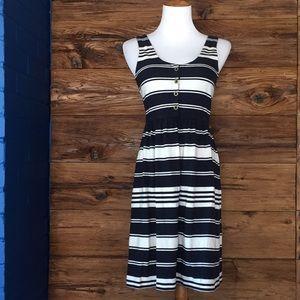Nautical blue white stripe dress